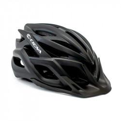 Шлем велосипедный с козырьком с габаритным фонарем LED CIGNA WT-059 черный М (54-57см)