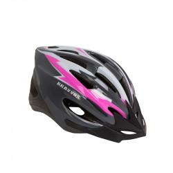 Шолом велосипедний HEL128 чорно-біло-рожевий М