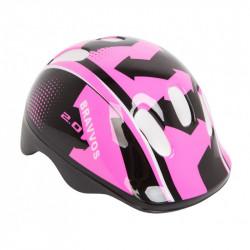Шлем велосипедный HEL104 черно-розовый детский